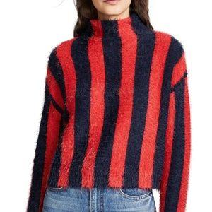 BlankNYC BNWT Stripe Funnel neck Red blue stripe L